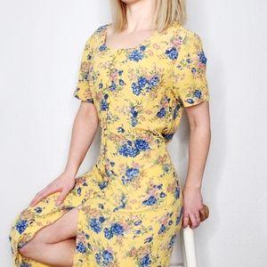 80-90s Vintage Yellow Blue Floral Button Up Dress